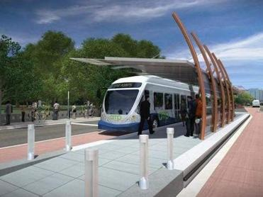 A rendering of a trolley for the proposed Amp transit system in Nashville.