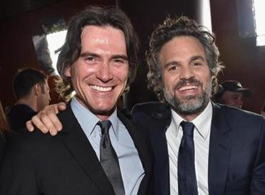 "Actor Billy Crudup (left), who plays Eric MacLeish in ""Spotlight,"" with Mark Ruffalo at a screening of the movie in Los Angeles earlier this month."
