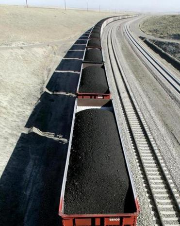 A train loaded with coal traveled through Wyoming in 2006.