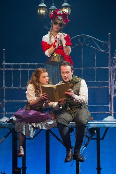 "Victoria Britt (left), Kirsten Salpini, and Nick Sulfaro in New Rep's ""The Snow Queen."""