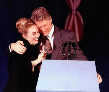 "Bill Clinton declared himself ""The Comeback Kid"" after his surprise second-place finish in 1992. Above: Clinton hugged his wife, Hillary, at his election night party in Merrimack."