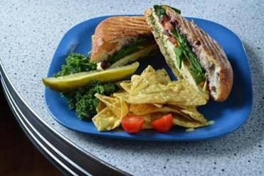 The North End pressed sandwich at VO2 Vegan Cafe.