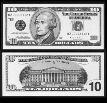 The front and back of the U.S. ten dollar bill, which features the nation's first Treasury secretary, Alexander Hamilton, is seen in a handout picture from the Department of Treasury at a ceremony in Washington May 24, 2000. The U.S. Treasury has decided to replace former President Andrew Jackson with anti-slavery crusader Harriet Tubman on the U.S. $20 bill, and will put leaders of the women's suffrage movement on the back of $10 bill, Politico reported on Wednesday. REUTERS/U.S. Department of Treasury/Files FOR EDITORIAL USE ONLY. NOT FOR SALE FOR MARKETING OR ADVERTISING CAMPAIGNS. THIS IMAGE HAS BEEN SUPPLIED BY A THIRD PARTY. IT IS DISTRIBUTED, EXACTLY AS RECEIVED BY REUTERS, AS A SERVICE TO CLIENTS