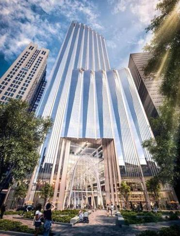 Architect's rendering of the proposed tower at Winthrop square.