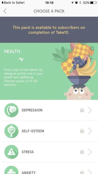 In the Headspace app a narrator talks through a mental exercise and meditation session intended to help meet a goal