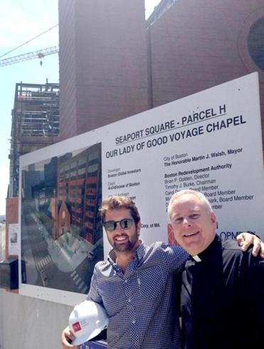Project manager John B. Hynes IV and the Rev. James Flavin at the new site of Our Lady of Good Voyage.