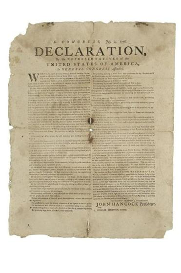 A broadside of the Declaration of Independence.