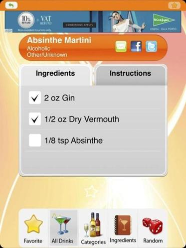 The 8,500+ Drink & Cocktail Recipes app is a simple but jam-packed cocktail-making app that favors a very no-frills approach to design and instructions, but still has lots of features.