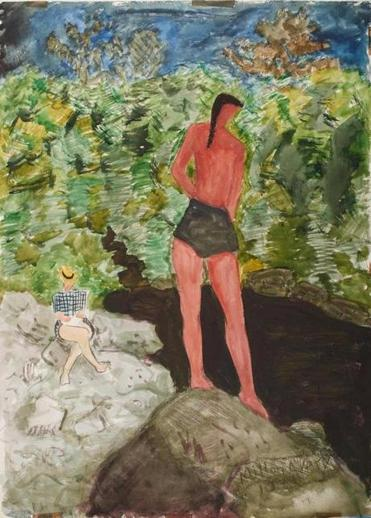 "Milton Avery's ""Thoughtful Swimmer,"" part of the exhibit ""Milton Avery's Vermont"" at Bennington Museum."