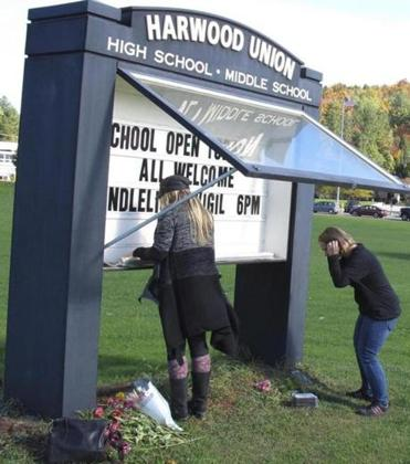 Staff at Harwood Union High School in Duxbury, Vt., posted a notice Monday announcing a vigil for the victims.