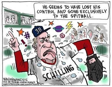 Editorial cartoon: Curt Schilling loses control