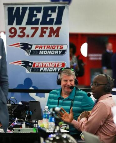 "Houston, TX 2-2-17: Dale Arnold (left) and Michael Holley (right) co-hosts of the Dale & Holley Show are pictured as they do their show on ""Radio Row"" in the Media Center at the Super Bowl. (Globe Staff Photo/Jim Davis) reporter: various topic: Super Bowl"