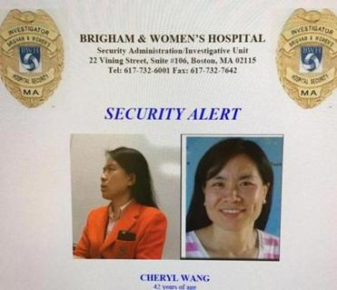 Photos of Cheryl Wang were posted at the Brigham.