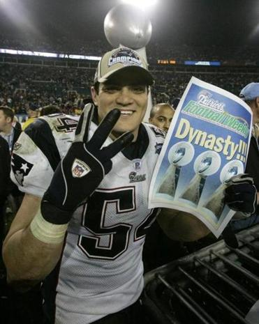 Tedy Bruschi celebrated after the Patriots won their third Super Bowl in four years.