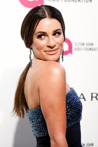 Lea Michele arrives at the 2016 Elton John AIDS Foundation Oscar Viewing Party at West Hollywood Park on Sunday, Feb. 28, 2016, in West Hollywood, Calif. (Photo by Rich Fury/Invision/AP)