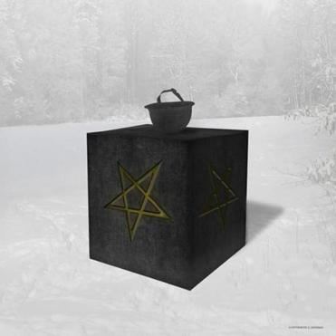 This artist's rendering provided by The Satanic Temple on Saturday, May 6, 2017 shows a monument the organization is planning to erect at a veterans' memorial park in Belle Plaine, Minn. The city, about 45 miles southwest of Minneapolis, is allowing the monument, which features inverted pentagrams, a soldier's helmet and a plaque honoring veterans who died in battle, after the Freedom from Religion Foundation threatened to sue over another statue that features a soldier praying over a grave marked with a cross. (Chris P. Andres/The Satanic Temple via AP)