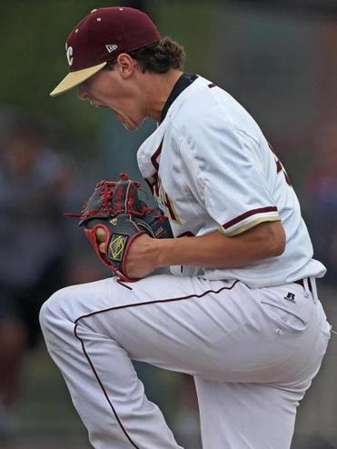 Boston, MA May 31, 2017: BC High starting pitcher Mike Vasil lets out a scream after striking out the final Braintree batter in the ninth inning to finish his complete game 3-2 victory. Braintree visited Boston College High School for a first round Super 8 Tournament baseball game. (Globe Staff Photo/Jim Davis)