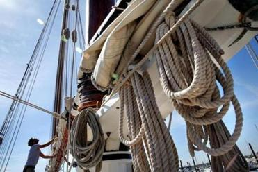 Deckhand Aaron Funk worked on the Spirit of South Carolina.