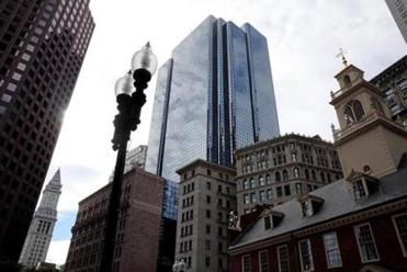 The new Boston Globe newsroom and business offices are located at 1 Exchange Place in Boston.