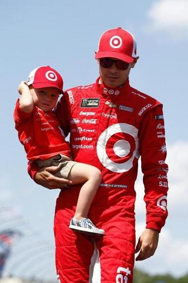 LOUDON, NH - JULY 16: Kyle Larson, driver of the #42 Target Chevrolet, and is introduced as he carries his son Owen prior to the Monster Energy NASCAR Cup Series Overton's 301 at New Hampshire Motor Speedway on July 16, 2017 in Loudon, New Hampshire. (Photo by Jeff Zelevansky/Getty Images)