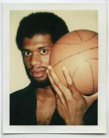 "A picture of Kareem Abdul-Jabbar from ""Everybody, Everything: Photographs by Andy Warhol"" at MassArt."