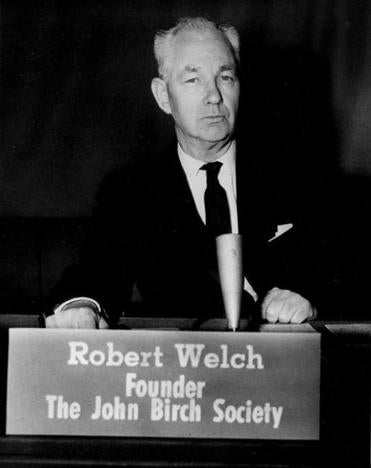 Robert Welch, founder and president of the John Birch Society, is shown on May 15, 1961. The location is not known. (AP Photo)