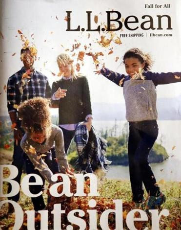 "The L.L. Bean catalogue cover shows the new ad campaign, ""Be an Outsider."""