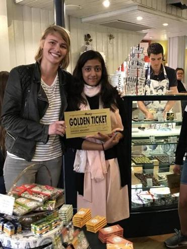 Anusha Senapati of Acton received a golden ticket from Roald Dahl's granddaughter, Chloe Dahl.