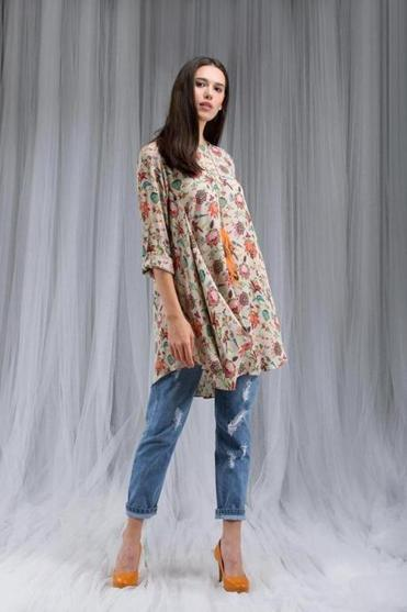 Khaki Chidya print crepe cowl tunic with roll-up sleeves, $245 online at payalsinghal.com