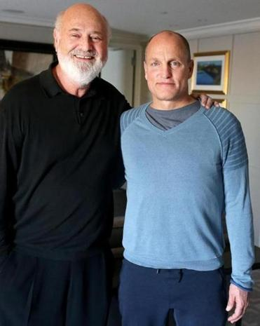 """LBJ"" director Rob Reiner (left) and star Woody Harrelson spoke about the film during a recent visit to Cambridge."