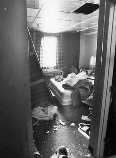 Chelsea, MA - 7/24/1982: Room 209, the private, second-floor room of King Arthur's Motel and Lounge manager Anthony Dimino, is still in shambles on July 24, 1982, following a brawl involving the Everett and Chelsea police at the Chelsea, Mass., motel the day before. The fight left Vincent J. Bordonaro, 54, of Everett, Mass., dead and five others injured, and was allegedly sparked by an argument between off-duty Everett patrolman John McLeod and Bordonaro. (John Blanding/Globe Staff) --- BGPA Reference: 140715_CB_001