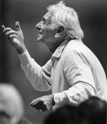 Leonard Bernstein leads the BSO in rehearsal in 1988.