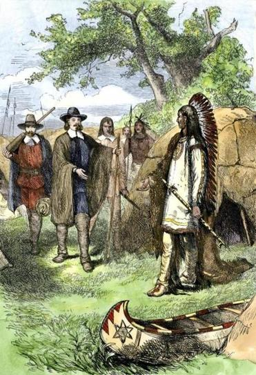 Chief Massasoit visited by Governor Winslow, Plymouth Colony, 1620s. Hand-colored woodcut of a 19th-century illustration. (North Wind Picture Archives via AP Images)