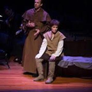 "Heather Buck (with Luke Scott) as Joan of Arc in ""The Trial at Rouen."""