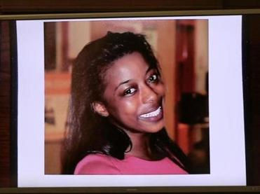 BOSTON, MA - 12/11/2017: Photograph of murdered victim Dawn Jaffier projected in the courtroom. First day of trial at Suffolk Superior Court in Boston for two men, Keith Williams and Wesson Colas accused of murder in the death of Dawn Jaffier at the J'ouvert Parade in 2014. (David L Ryan/Globe Staff ) SECTION: METRO TOPIC 12jaffier