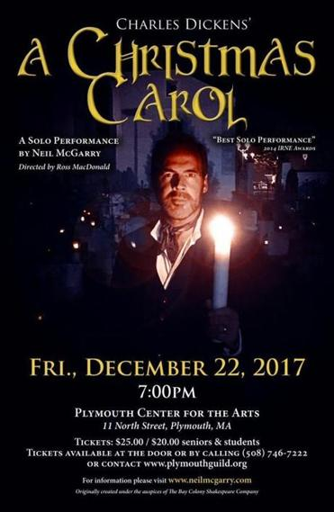 "17socalendar - Actor Neil McGarry performs a one-man theatrical version of Dickens ""A Christmas Carol"" in Plymouth. (Plymouth Center for the Arts)"