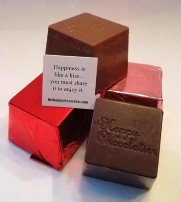 Valentine's Day Truffle Cubze available at the Happy Chocolatier in Acton are hand foiled and contain a quote. (Happy Chocolatier)