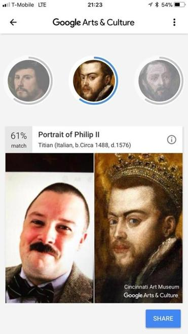 The author's photo drew matches with multiple portraits, including this one of Philip II, through Google's Arts and Culture app.