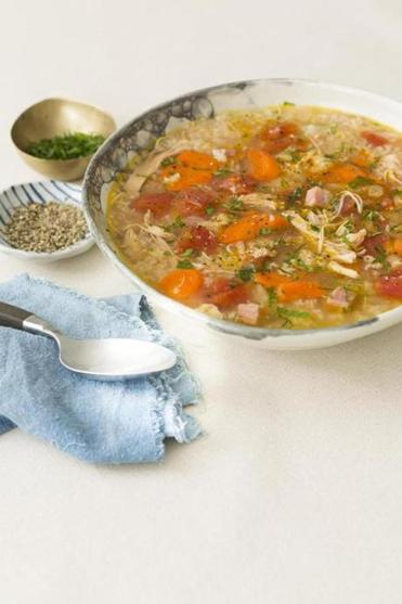 Brazilian-Style Chicken and  Rice Soup.