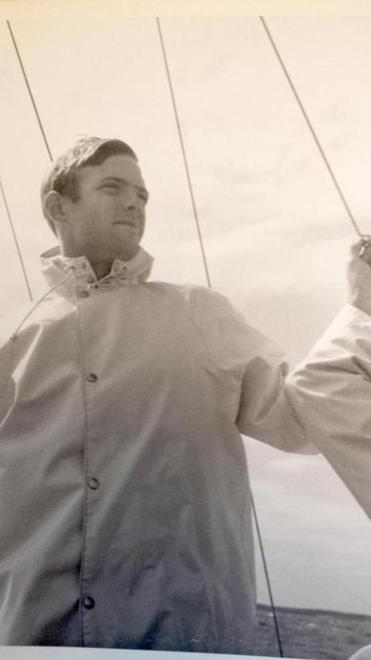 Dr. Rowland sailing in the 1960s.