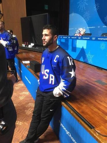 Brian Gionta of Team USA spoke to the media on Monday in PyeongChang.