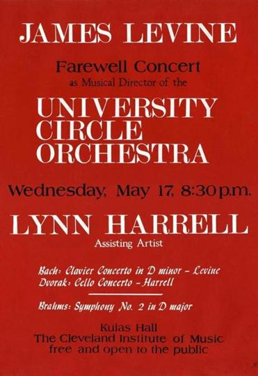 A poster from James Levine's Farewell Concert in1972 as Music Director of the University Circle Orchestra.