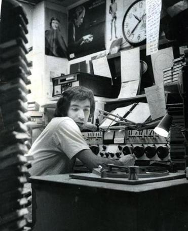 """They called me 'One-Take Chuckie,' 'cause I could never get it right on the first take,"" says Charles Laquidara of his radio days at WBCN (above, at the studio in 1972)."
