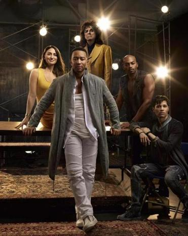 """Jesus Christ Superstar Live in Concert"" stars (from left) Sara Bareilles, John Legend, Alice Cooper, Brandon Victor Dixon, and Jason Tam."