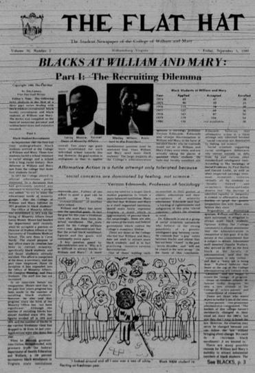 A 1980 issue of The Flat Hat, a student newspaper at the College of William and Mary, in which James Comey wrote as a student about the need to attract more black students to the school.