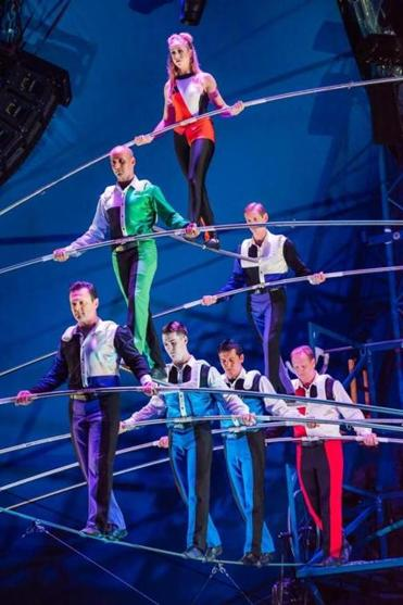 Big Apple Circus headliners the Wallendas performing their seven-person pyramid.