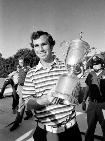 Mr. Green held the US Open Championship trophy he won in 1977 at Southern Hills Country Club in Tulsa, Okla.