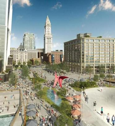 An artist's rendering of a plaza that could be part of developer Don Chiofaro's Harbor Garage project.