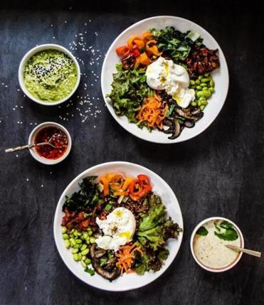 Whole grain bowls with mix-and-match leftovers.