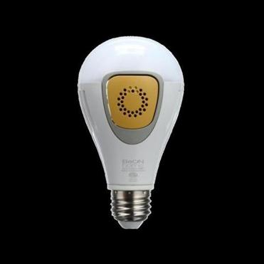 """Smart"" security lightbulbs from BeOn Home. They could be programmed to light up on a schedule, or respond to a doorbell ring by turning on."